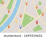 cartoon city map with red pins... | Shutterstock .eps vector #1695524632