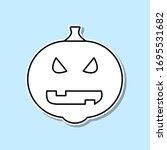 halloween pumpkin sticker icon. ...