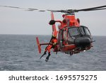 Warm orange helicopter with a...