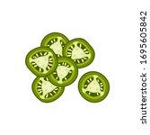 hamburger ingredient. sliced... | Shutterstock .eps vector #1695605842