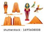 egypt landmarks and deities set.... | Shutterstock .eps vector #1695608008