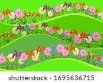 floral seamless texture.... | Shutterstock .eps vector #1695636715