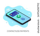 mobile contactless payments... | Shutterstock .eps vector #1695658792