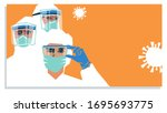 medical staff wearing ppe ... | Shutterstock .eps vector #1695693775