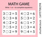 math game. write   or   in... | Shutterstock .eps vector #1695708298