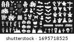 set of silhouettes of halloween ... | Shutterstock .eps vector #1695718525