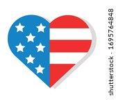 Heart With Usa Flag Flat...