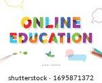 online education bright banner. ... | Shutterstock .eps vector #1695871372