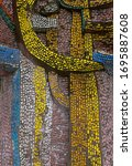 fragment of old mosaic ceramic...   Shutterstock . vector #1695887608