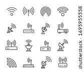 icon set of wireless. editable... | Shutterstock .eps vector #1695955558