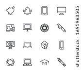 set of e learning related... | Shutterstock .eps vector #1695963505