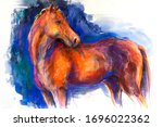 Original Pastel Painting. Horse ...