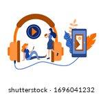mobile museum guide application.... | Shutterstock .eps vector #1696041232