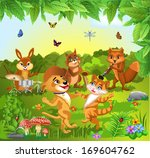 animals dancing and playing... | Shutterstock .eps vector #169604762