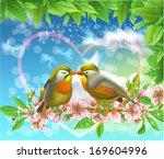 loving birds kissing on a branch | Shutterstock .eps vector #169604996