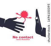 cartoon coronavirus on hand.... | Shutterstock .eps vector #1696100395