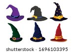 colorful witch and wizards hat... | Shutterstock .eps vector #1696103395