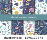 set of seamless patterns with... | Shutterstock .eps vector #1696117978