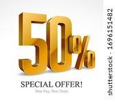50  off special offer gold 3d...   Shutterstock .eps vector #1696151482