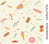 cute sweets seamless pattern.... | Shutterstock .eps vector #169617476
