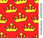 doodle crowns seamless pattern. ... | Shutterstock .eps vector #1696192132
