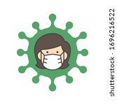 woman face with flu mask icon... | Shutterstock .eps vector #1696216522