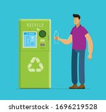 recycling. people put bottles...   Shutterstock .eps vector #1696219528