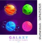 vector set of cartoon planets....
