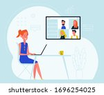 a woman work from home. online... | Shutterstock .eps vector #1696254025