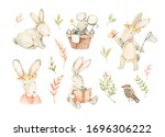 watercolor illustrations with...   Shutterstock . vector #1696306222