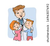 paediatric doctor with his... | Shutterstock .eps vector #1696307692