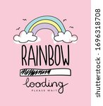 Rainbow Cartoon Drawing On Pink ...