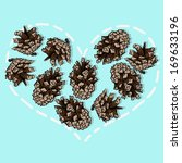 heart from pine cones  vector... | Shutterstock .eps vector #169633196