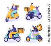 set of characters couriers... | Shutterstock .eps vector #1696340602