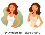 cute cartoon girl looking up ...   Shutterstock .eps vector #169637042