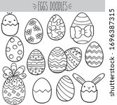 decorated easter eggs  black... | Shutterstock .eps vector #1696387315