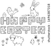 happy easter decorated letters... | Shutterstock .eps vector #1696387318