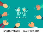 people clapping hand for... | Shutterstock .eps vector #1696405585