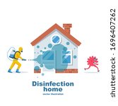 disinfection home. prevention... | Shutterstock .eps vector #1696407262