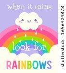 cute cloud cartoon and rainbow...   Shutterstock .eps vector #1696424878