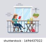 woman reading balcony ... | Shutterstock .eps vector #1696437022