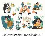 collection of mental health... | Shutterstock .eps vector #1696490902