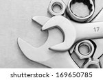 Wrench tool and nut at metal ...