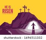 he is risen. ressurection... | Shutterstock .eps vector #1696511332