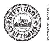 Black grunge rubber stamp with the name of Stuttgart city from Germany written inside the stamp