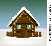wooden house with winter... | Shutterstock . vector #169652066
