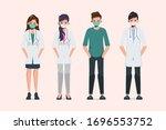 doctor wear mask in different... | Shutterstock .eps vector #1696553752