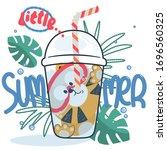funny cute tiger cartoon diving ... | Shutterstock .eps vector #1696560325