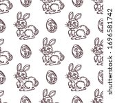 easter seamless pattern with... | Shutterstock .eps vector #1696581742