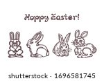set of easter hand drawn... | Shutterstock .eps vector #1696581745